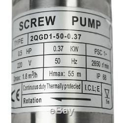 0.5 HP Submersible Water Pump 2 Solar Stainless Steel Well Pump AC 220V IP68