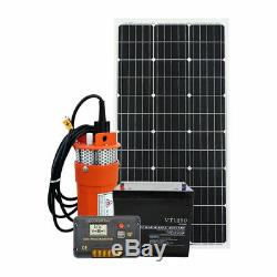 100W Solar Panel &DC 12V Solar Powered Submersible Water Deep Well Pump Off Grid