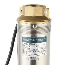110V Submersible Water Pump, Deep Well, 4000L/h, 4, 1HP, 164 ft, Heavy Duty US