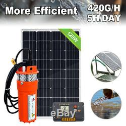12V DC Deep Well Water Pump System & 120W Mono Solar Panel for Irrigation Farm