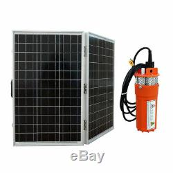 12V DC Water Pump System Kit With 100W Folding Solar Panel & Submersible Well Pump
