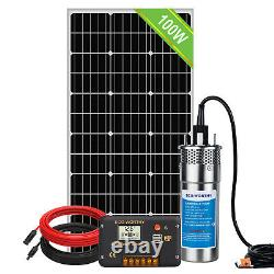 12V Solar Deep Well Pump, Submersible Pump+10AH Battery +Solar Panel+16.5ft Cable