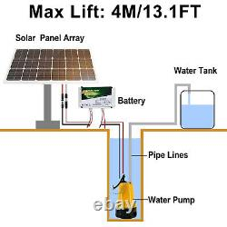 12V Solar Submersible Water Pump with Battery 100W Solar Panel Pond Farm Home