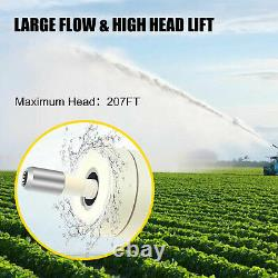 1HP 4'' Deep Well Submersible Pump 110V 33GPM 207ft 32.8ft Cable Stainless Steel