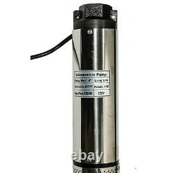 1 HP 220V Deep Well Submersible Pump, 4, 207 ft 33GPM 33ft Cord NEW FREE SHIPP