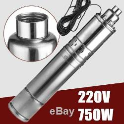 220V 750W 75M Head Lift 4000L/H Submersible Bore Deep Well Water Pump + 18M Cord