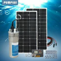 24V DC Deep Well Water Pump+2100W Solar Panel +20A PWM Charger Controller US