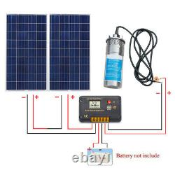 24V Stainless Shell Submersible Deep Well Water DC Pump + Controller+Solar Panel