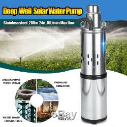 280W 24V 3m³/h 60m Solar Water Pump Submersible Bore Hole Deep Well Pump New