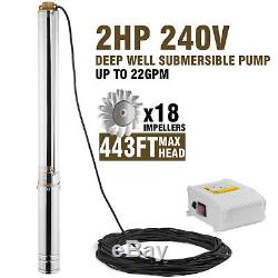 2HP Submersible Well Pump 443FT 22GPM 220V 2HP Deep Stainless Steel Water