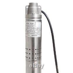 2 Submersible Bore Hole Deep Well Water Pump 1/2HP 240V Stainless Steel 180ft