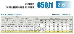 2-WIRE 4.5 GPM@285 FT 2.5 SUBMERSIBLE 1- PHASE 240V 60Hz 1 HP DEEP. WELL PUMP
