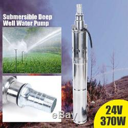 370W DC24V Solar Water Pump Deep Well Submersible Pump Stainless Steel 65m 213ft