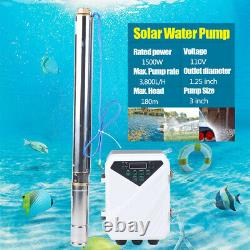 3 2HP DC Solar Deep Bore Well Submersible Water Pump + MPPT Controller 1500W US