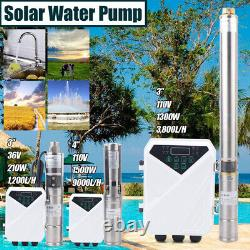 3/4 DC Deep Bore Well Solar Water Pump 36/110V Submersible MPPT Controller Kit