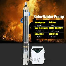 3 DC 48V Deep Well Solar Water Pump 600W Submersible Bore MPPT Controller Kits