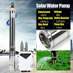 3 DC Deep Bore Well Solar Water Pump Submersible MPPT Controller Kit 3,000L/H
