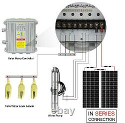 3'' DC Solar Submersible Bore Water Pump Deep Well Complete Pump Kit+Solar Panel