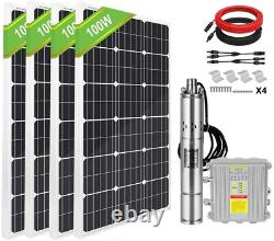 3'' DC Solar Submersible Water Pump Deep Well Complete Pump Kit MPPT+Solar Panel