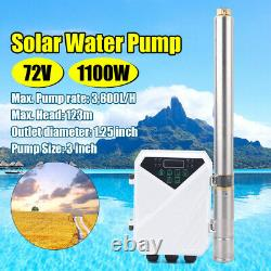 3 DC Solar Water Pump 72V 1100W Submersible Deep Bore Well Pump + Controller US