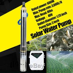3 DC Well Solar Water Pump 48V 600W Submersible MPPT Irrigation Kit 3,000L/H