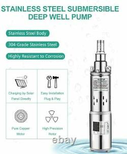 3 Submersible Solar Water Pump Deep Well Kit 1500L/H Pool Garden Pond Watering