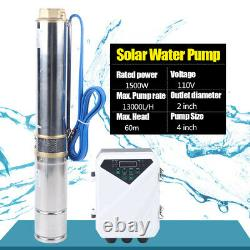 4 DC Solar Water Pump 110V Submersible+MPPT Controller Deep Bore Well 1500W NEW