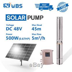 4 DC Solar Water Pump 48V 500W Submersible MPPT Controller Kit Deep Bore Well