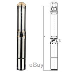 4 Deep Well Pump 1HP Stainless Steel Submersible Sump Pump 200FT 110V 33GPM
