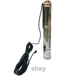 4 Deep Well Submersible Water Pump- Stainless Steel Body and 20m(66ft)Cable 1HP