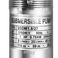 750W 1HP Submersible Deep Well Pump 3 Water Pump, 360FT, S/Steel, 20M Cable