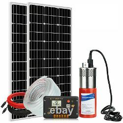 All-in-One Solar Well Pump System Large Flow, 200W Solar Panel Kits +15M Pipe