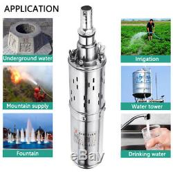 DC12V Solar Water Powered Pump Submersible Bore Hole Pond Deep Well 3M³/H Gray