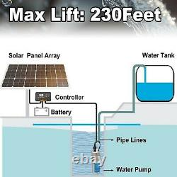 DCHOUSE 12V DC Stainless Solar Powered Submersible Water Well Pump 135'/35m L