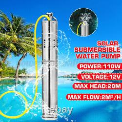 DC 12V 110W Solar Water Powered Well Pump Submersible Bore Hole Pond Deep