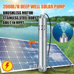 DC 24V 284W Solar Submersible Water Pump Deep Well Pond Farm 40m Max With MPPT