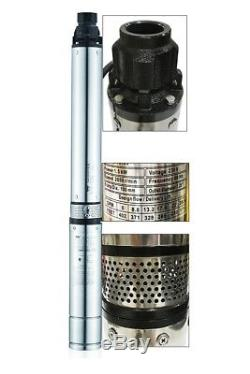 DEEP SUB WELL SUBMERSIBLE PUMP 2HP STAINLESS STEEL BODY UNDERWATER 400ft 230V