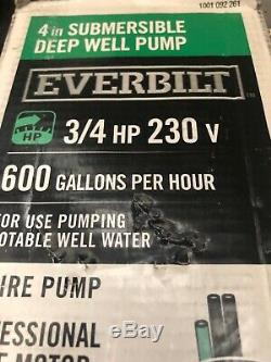 Everbilt 3/4 HP Submersible 2-Wire Motor 10 GPM Deep Well Potable Water Pump