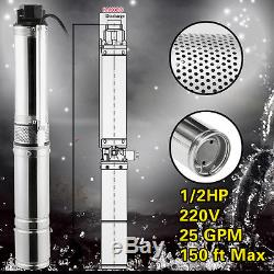 Long Life Water Submersible Pump, Deep Well4, 1/2HP, 220V, 25GPM, 150'ft Max