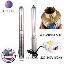SHYLIYU Submersible Pumps 4 OD Pipe 1.5HP 2 Outlet Deep Well Pump +Control Box