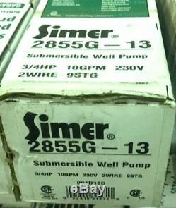 Simer 2855G-12 3/4 HP 4-Inch Submersible Well Pump 10GPM