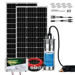 Solar Deep Well Submersible Water Pump with 6Ah LiFePO4 Battery +Solar Panel Kit