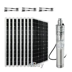 Solar Panel+12/24V Deep Water Well Pump Submersible Hole Bore Pump for Watering
