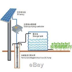 Solar Panel+3 Deep Water Well Pump Submersible Hole Bore Pump + MPPT Controller