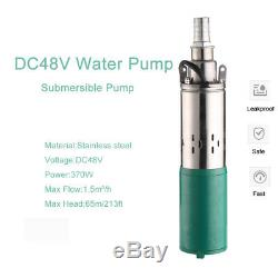 Submersible Pump DC48V 370W High Lift 3in Deep Well 213ft Head 396GPH Long Life