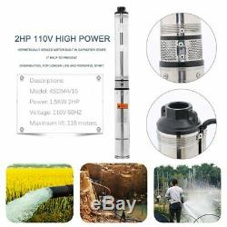 Submersible Water Pump, Deep Well, 4, 2HP, 110V, 443 ft Head, Heavy Duty