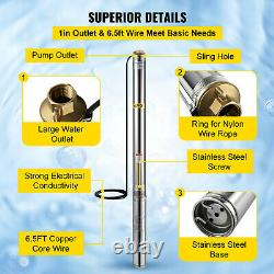 VEVOR Submersible Well Pump 4HP Deep Well Pump 4 with6.5ft Cable Max Head 855FT